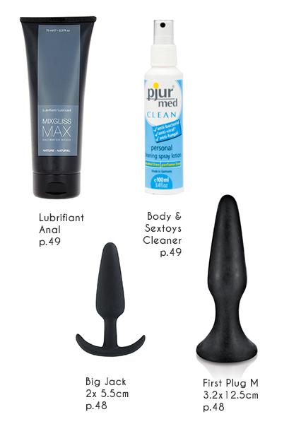 Cleaner Sextoys pour une hygiène parfaite lors de la sodomie, Lubrifiant Anal, plug anal pour débuter avec le big Jack et grand plug softlove
